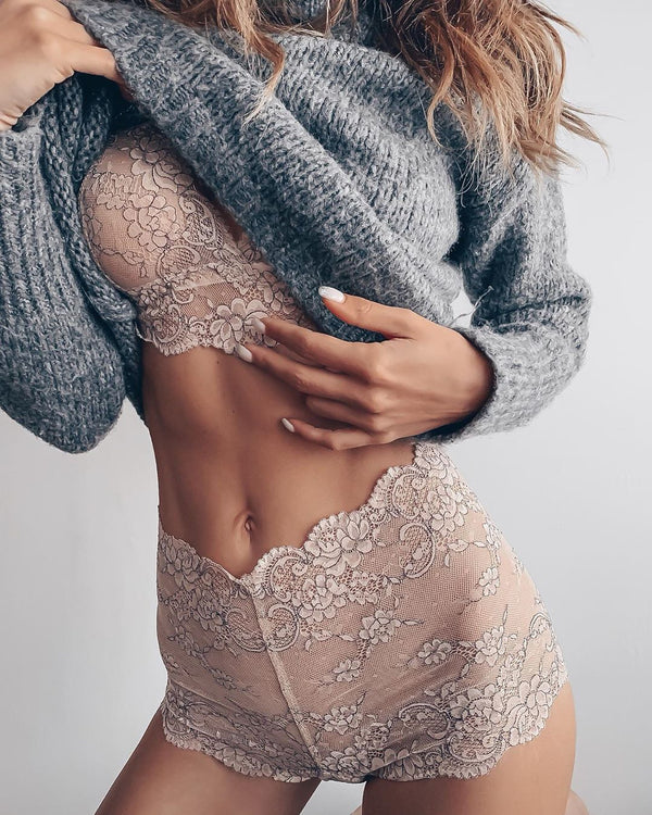 seamless embroidery Lace bra set