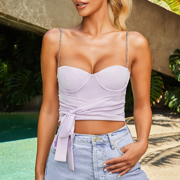 Stylish Wrap-around Tie Crop Top With Chain Straps