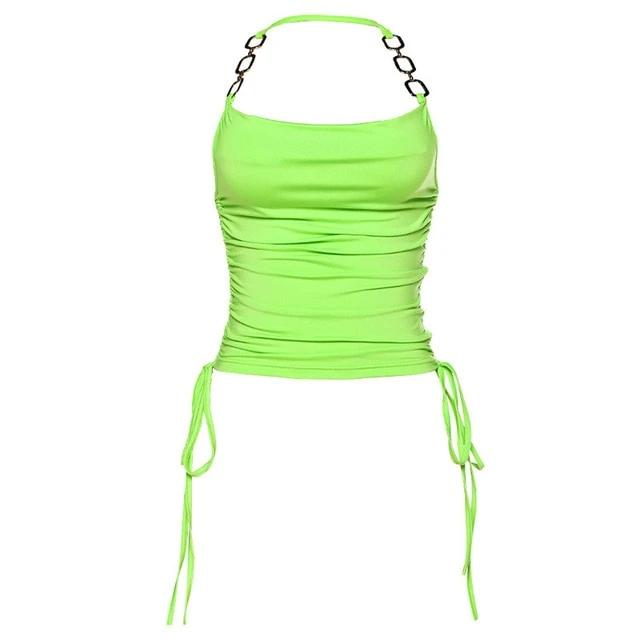 Women Sexy Backless Neon Crop Top
