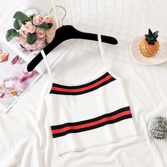 Women's Knitted Striped Camis Crop Top
