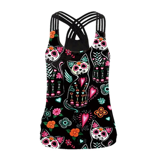Gothic Punk Cat Print Tank Tops for Women