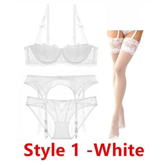 Sexy Lace Cotton Bra Panty Garter Belt and Stocking Set