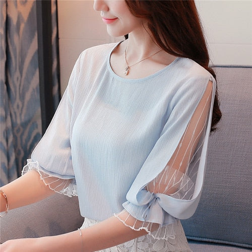Women's Half Sleeve Light Blue Blouse