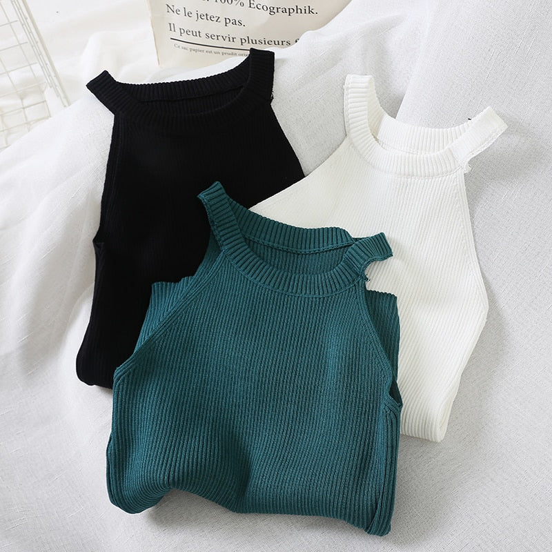 Women Knitted Off Shoulder Camis Short Top