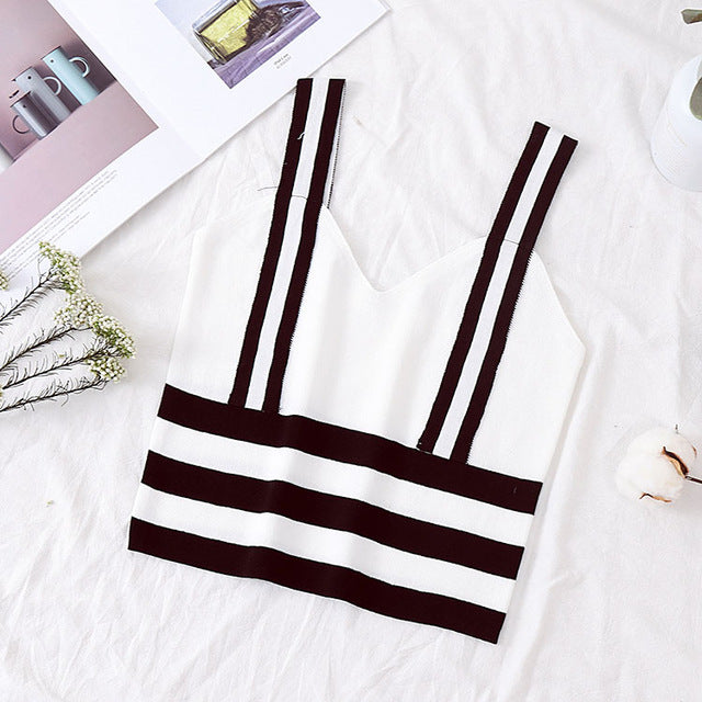 Trendy Knitted Striped Cotton Crop Top