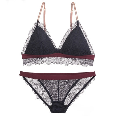 Women Sexy Floral Lace Underwear Set