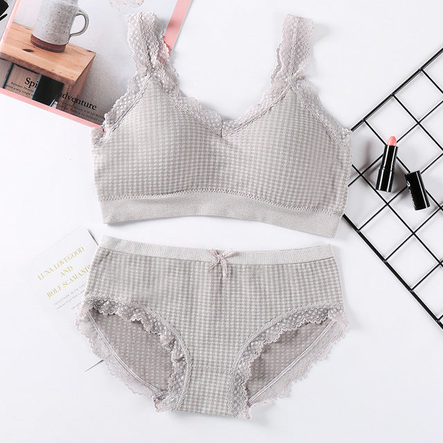 Women Knitted Camis Lingerie Set