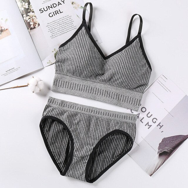 Women Striped Seamless Pant and Bra Set