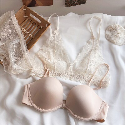 Ultra-Thin Floral Lace Bras and Transparent Panties Set