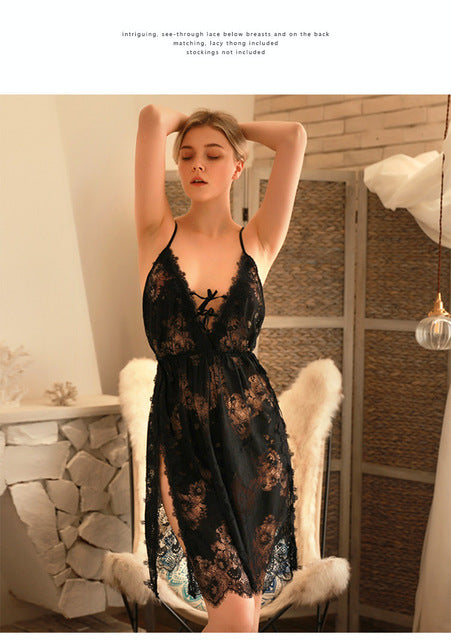 Sexy Deep V Neck Cutout Night Dress