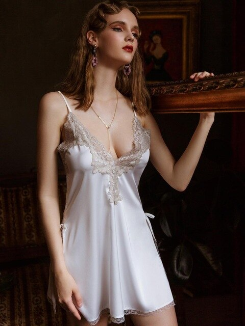 Sexy Silk Satin Lacy Nightgown