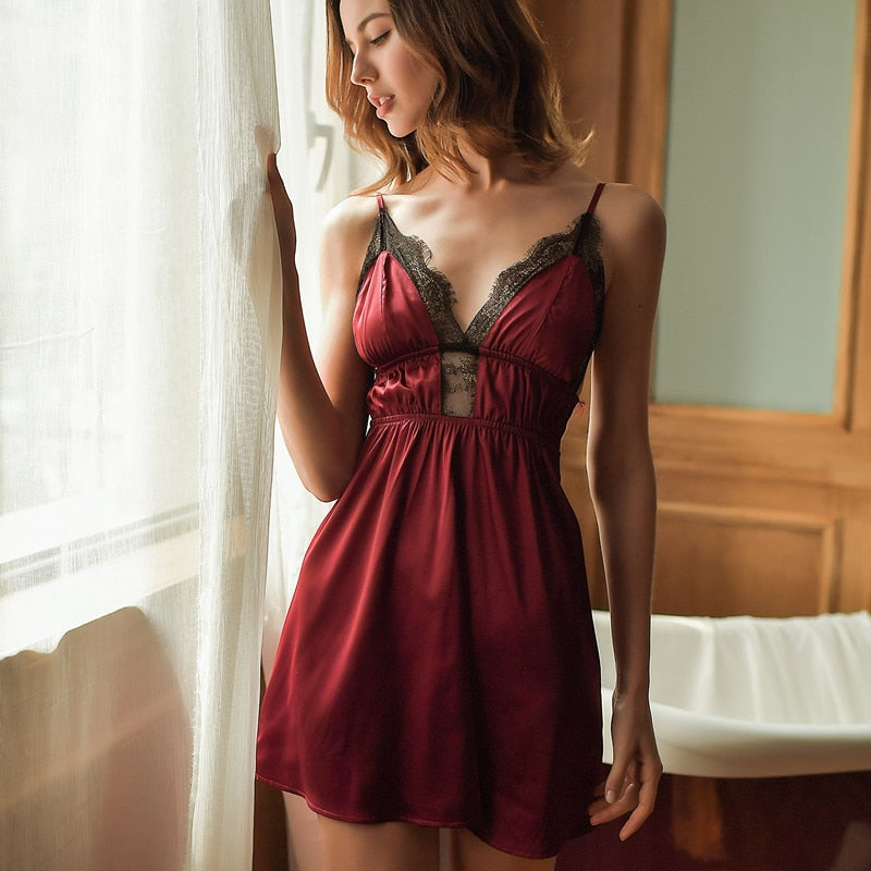 Sexy Ice Silk Sling Lace Night Dress