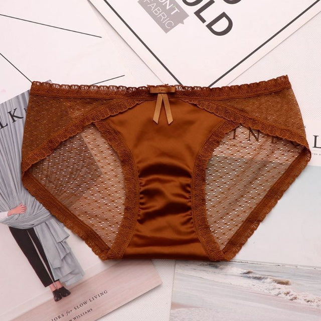 Sexy Women Hollow Out French Lace Seamless Panties