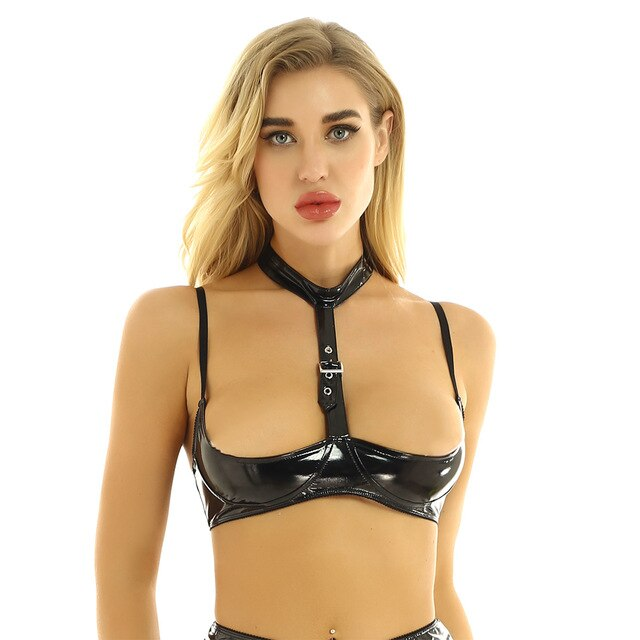 Women Leather Front Buckle Bra