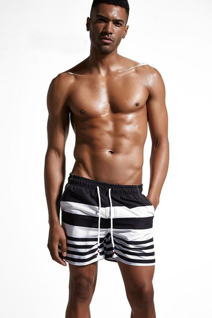 Men Striped Beach Shorts