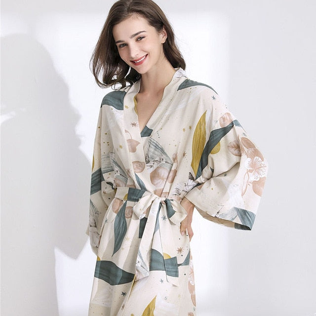 Silk Satin Thin Robe Floral Printed Sleepwear