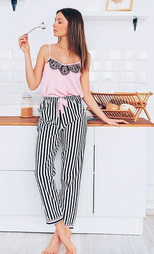 Pink Spaghetti Strap Sleeveless Top with Vertical Striped Pants PJ