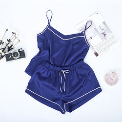 Satin Shorts Contrast Stripe Navy Cami Top Pajama Set