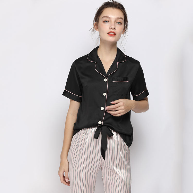 Women's Suit Short-sleeved Tops with Long Trousers Set