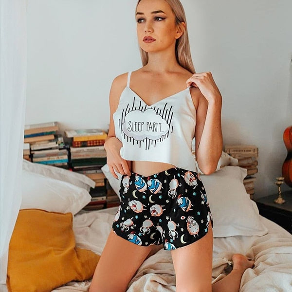 Cartoon Print V Neck Sexy Pyjamas Set