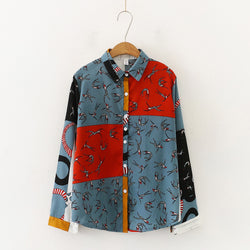 Vintage pattern Turn-down Collar Long Sleeve Shirt