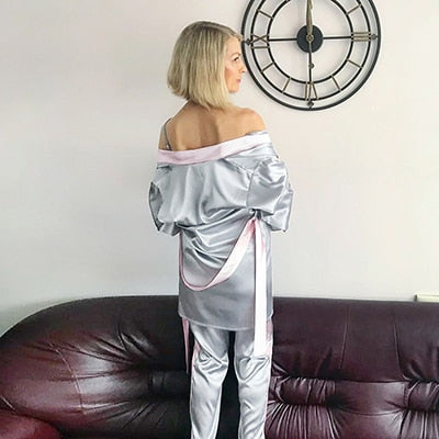 Splicing Long Sleeve Robes Pants Patchwork Satin Pajamas Two Piece Sets