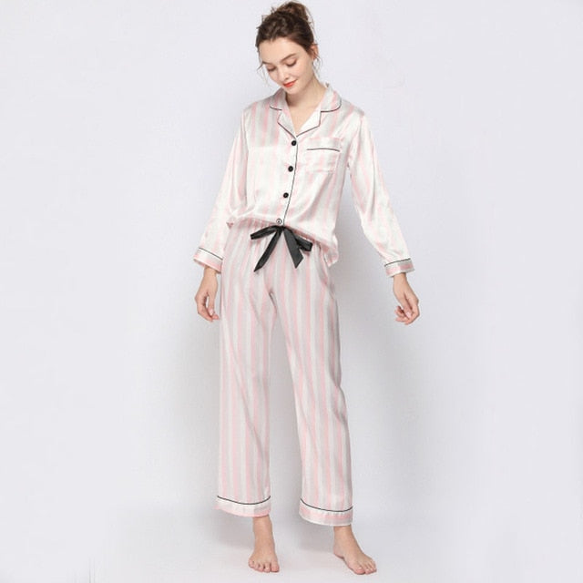 Silk Satin Pijamas Long Sleeve Set