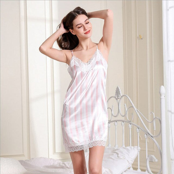 Ladies Sexy Silk Satin Nightdress Lace Nightgown Backless Nighties