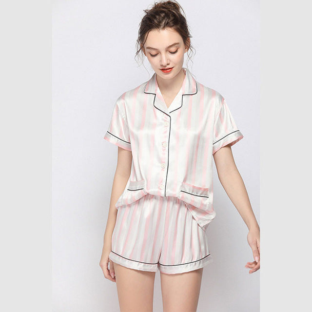 Ladies Silk Satin Short Sleeve Pajama