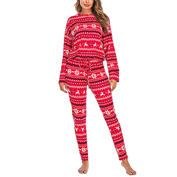 Milk Silk Pullover Christmas Print Winter Pajamas set