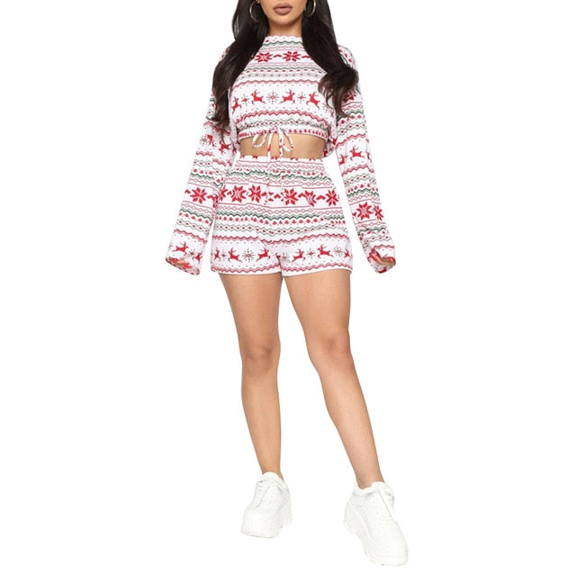 Women Christmas Print Winter Pajamas Suit