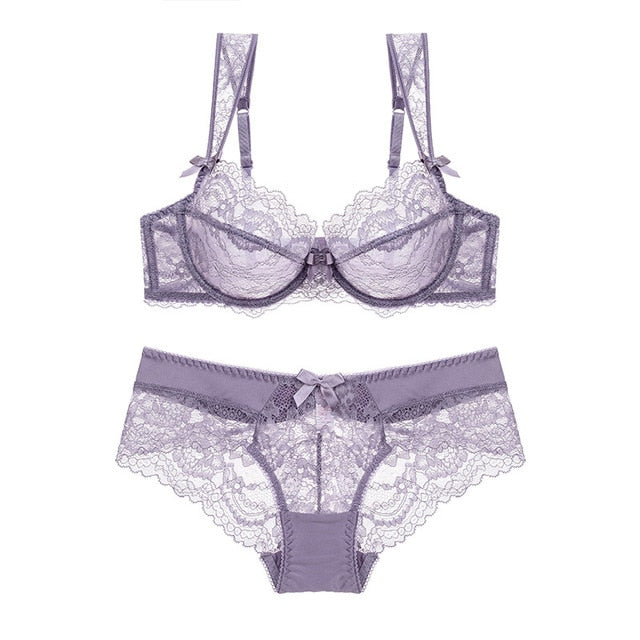 Transparent Lacy Bra and Panty Lingerie Set for Women