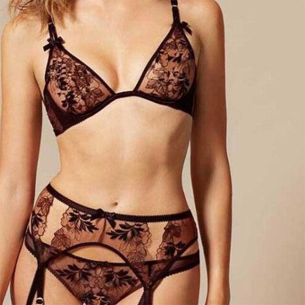 Women's Thin Lingerie Lace Bra Set