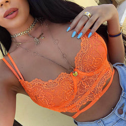 Cryptographic Floral Lace Bandage Hollow Out Sexy Crop Tops