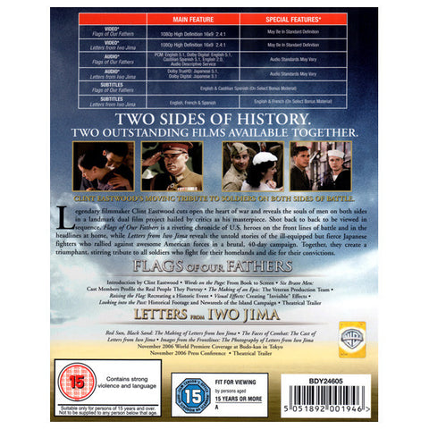 THE BATTLE FOR IWO JIMA COLLECTION blu-ray back cover