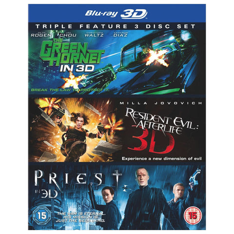 THE GREEN HORNET 3D/ PRIEST 3D/ RESIDENT EVIL blu-ray front cover