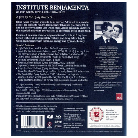INSTITUTE BENJAMENTA OR THIS DREAM PEOPLE CALL HUMAN LIFE blu-ray back cover