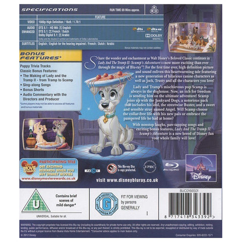 LADY AND THE TRAMP/LADY AND THE TRAMP II: SCAMPS ADVENTURE blu-ray back cover
