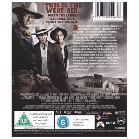 THE MAN WHO SHOT LIBERTY VALANCE blu-ray back cover