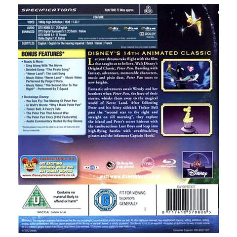 PETER PAN blu-ray back cover
