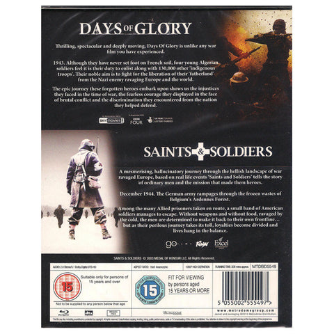 SAINTS AND SOLDIERS/DAYS OF GLORY BOX SET blu-ray back cover