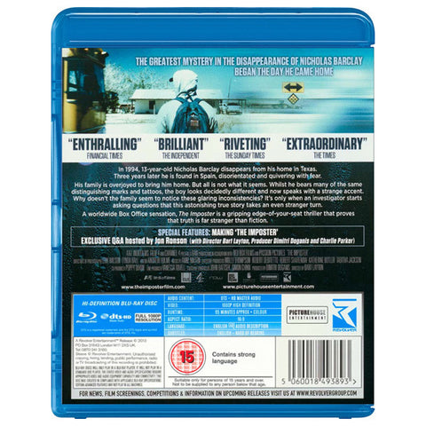 THE IMPOSTER blu-ray back cover