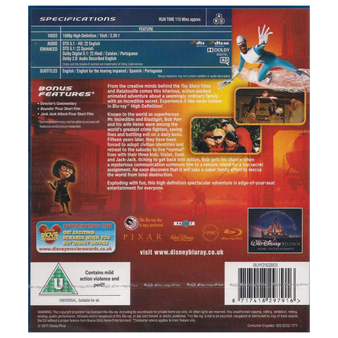 THE INCREDIBLES blu-ray back cover