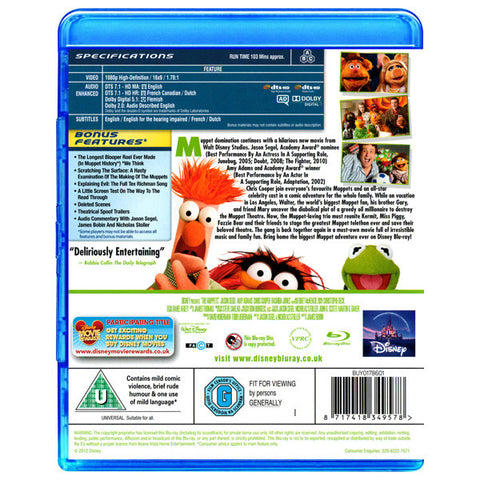 THE MUPPETS blu-ray back cover