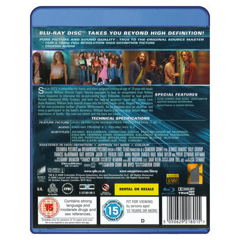 ALMOST FAMOUS(extended edition) blu-ray back cover
