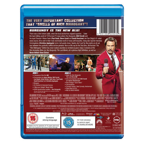 ANCHORMAN: THE LEGEND OF RON BURGUNDY(EXTENDED CUT) blu-ray back cover