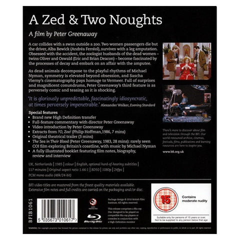 A ZED AND TWO NOUGHTS blu-ray back cover