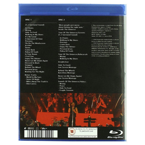DEPECHE MODE: TOUR OF THE UNIVERSE: BARCELONA blu-ray back cover