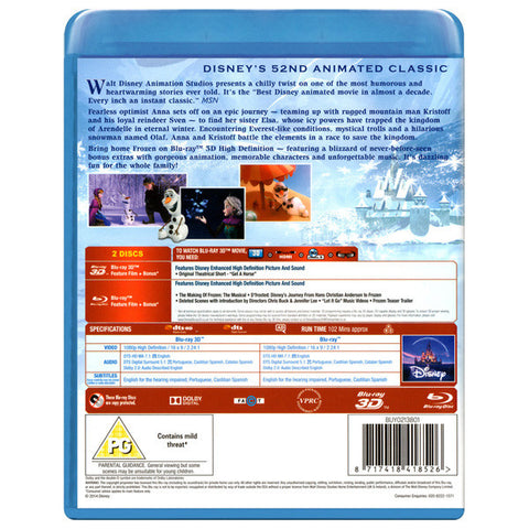 Frozen 3D blu-ray back cover