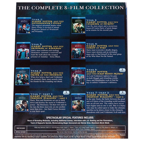 HARRY POTTER: THE COMPLETE 8-FILM COLLECTION blu-ray back cover
